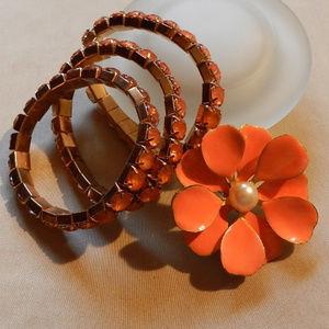Apricot 4 Piece Jewelry Bundle: 3 Bracelets+Brooch